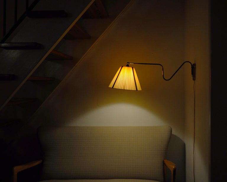 Danish Swing Arm Brass Wall Lamp, 1950s For Sale 7