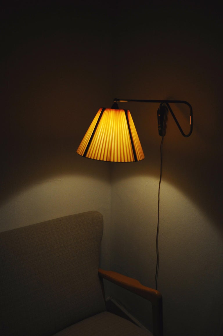 Danish Swing Arm Brass Wall Lamp, 1950s For Sale 8