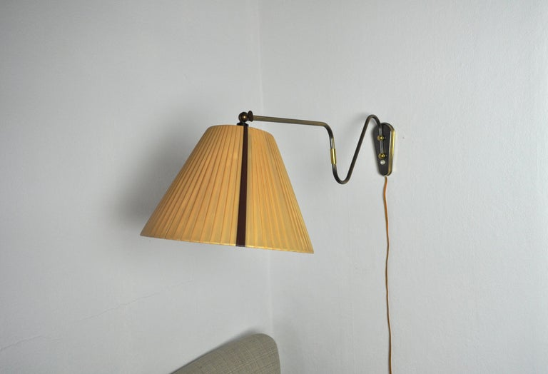 Scandinavian Modern Danish Swing Arm Brass Wall Lamp, 1950s For Sale