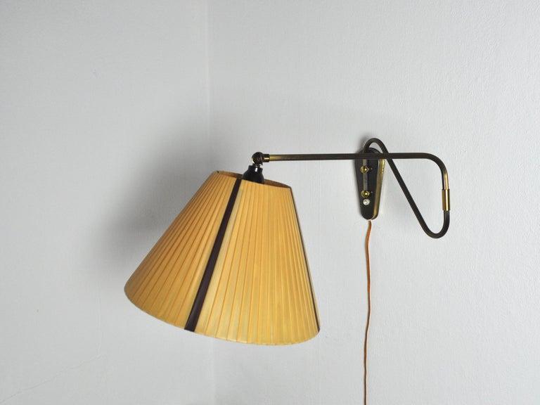 Danish Swing Arm Brass Wall Lamp, 1950s For Sale 1