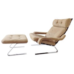 Danish Swing Lounge Chair with ottoman, Nubuk leather, Mid-Century modern, Chrom