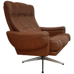 Danish Swivel Armchair, 1970s, Leather, Chrome Base