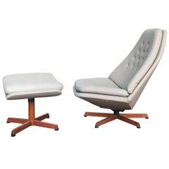 Danish Swivel Lounge Chair Model Ms68 with Ottoman by Madsen & Schübel