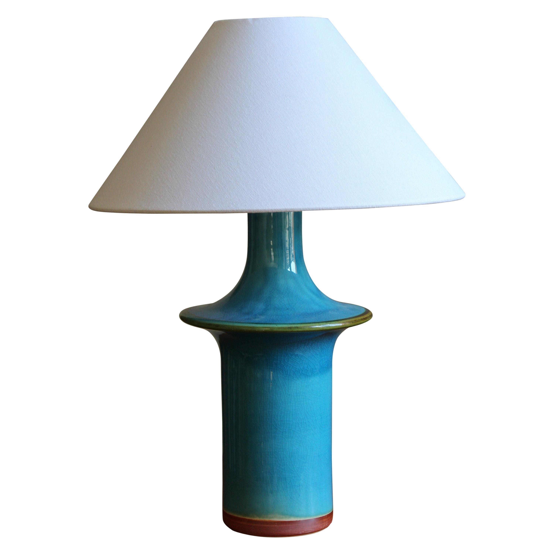 Danish, Table Lamp, Glazed Stoneware, Denmark C. 1960s
