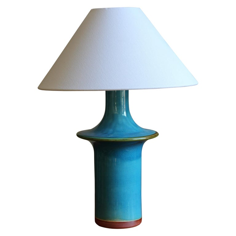 Danish, Table Lamp, Glazed Stoneware, Denmark C. 1960s For Sale
