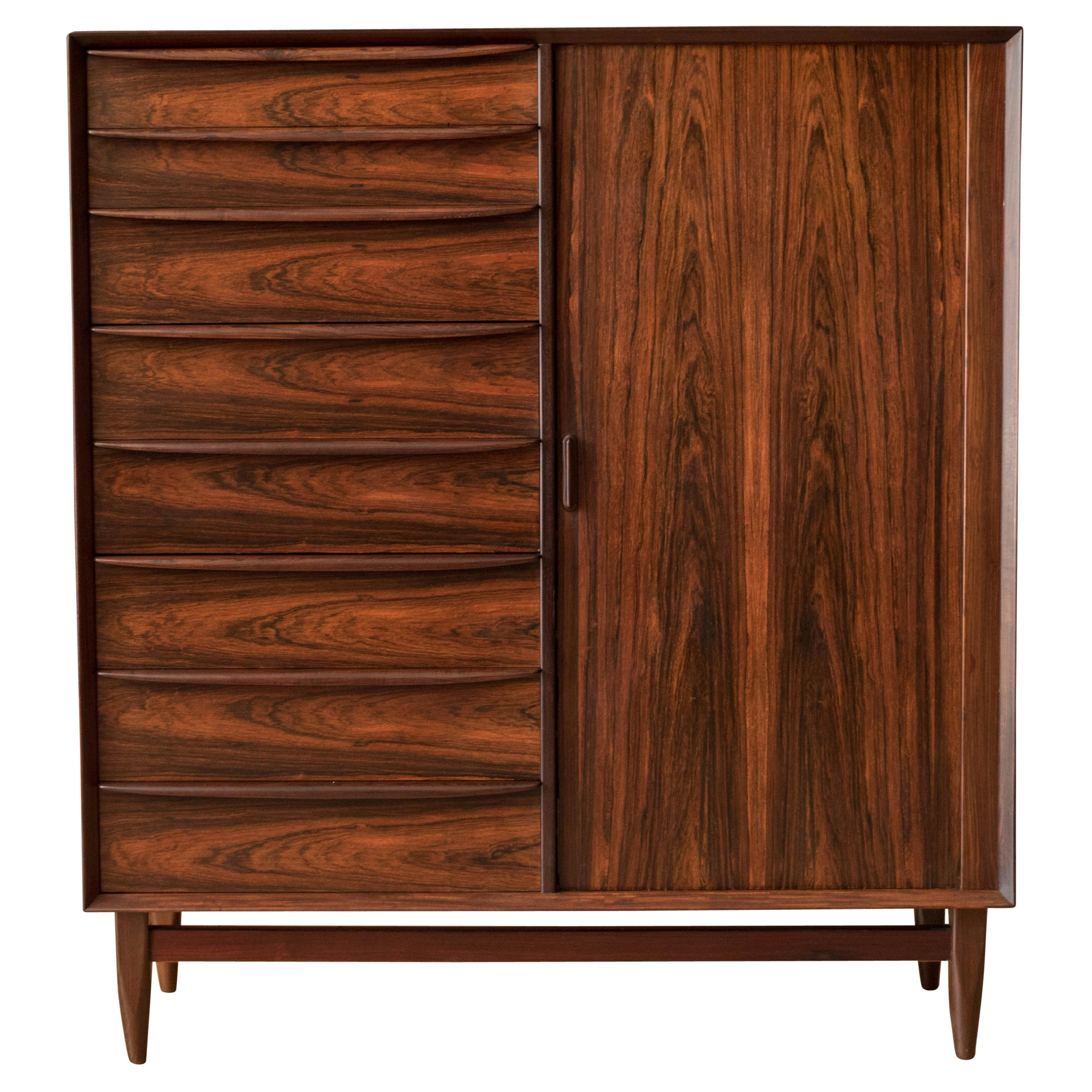 Danish Tall Rosewood Falster Dresser Chest by Svend Madsen