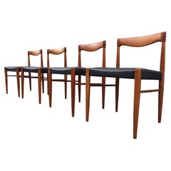 Danish Teak and Black Leather Dining Chairs, H. W. Klein, Bramin 1960s, Set of 4