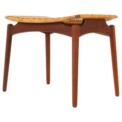 Danish Teak and Cane Stool from Ølholm Møbelfabrik, 1950s