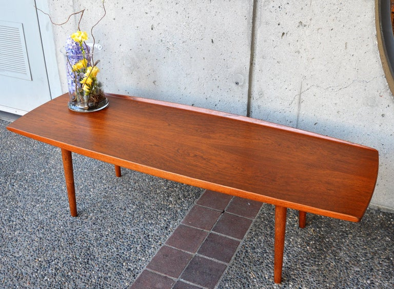 Mid Century Modern Danish Teak And Oak Surfboard Coffee Table Flared Edges By Trioh