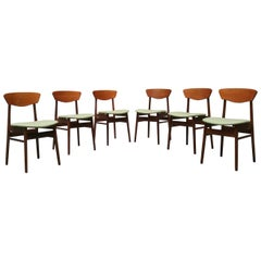 Danish Teak Chairs with Green Seats from 1960s