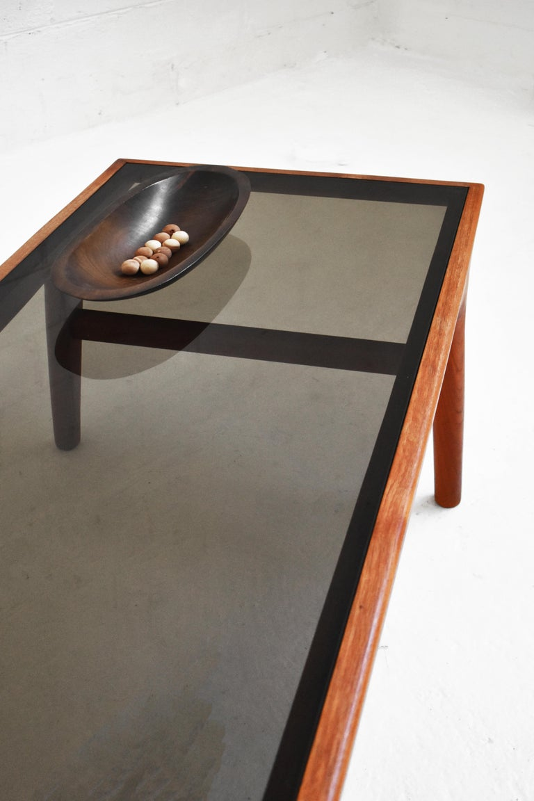 Smoked Glass Danish Teak Coffee Table by Johannes Andersen for Uldum Møbelfabrik For Sale