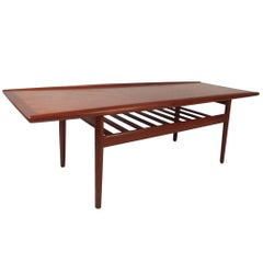 Danish Teak Coffee Table with Shelf by Grete Jalk