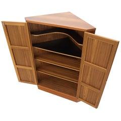 Danish Teak Corner Storage Liquor Cabinet Bar