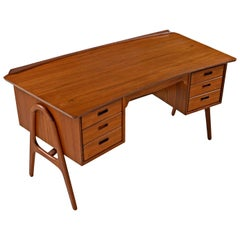 Danish Teak Curved Top Desk with Bookcase Cabinet Front by Svend Madsen