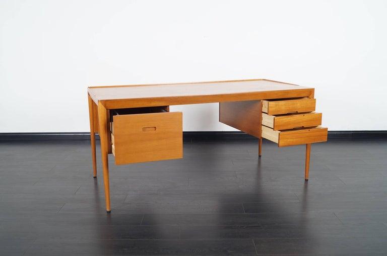 Danish Teak Desk by Erik Riisager Hansen  In Excellent Condition For Sale In Burbank, CA
