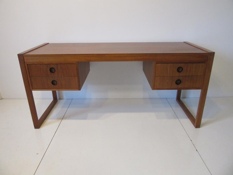 Danish Teak Desk in the Style of Henning Jensen / Torben For Sale 6