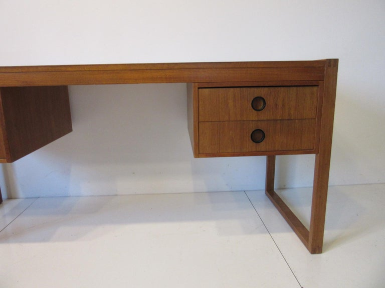 Mid-Century Modern Danish Teak Desk in the Style of Henning Jensen / Torben For Sale