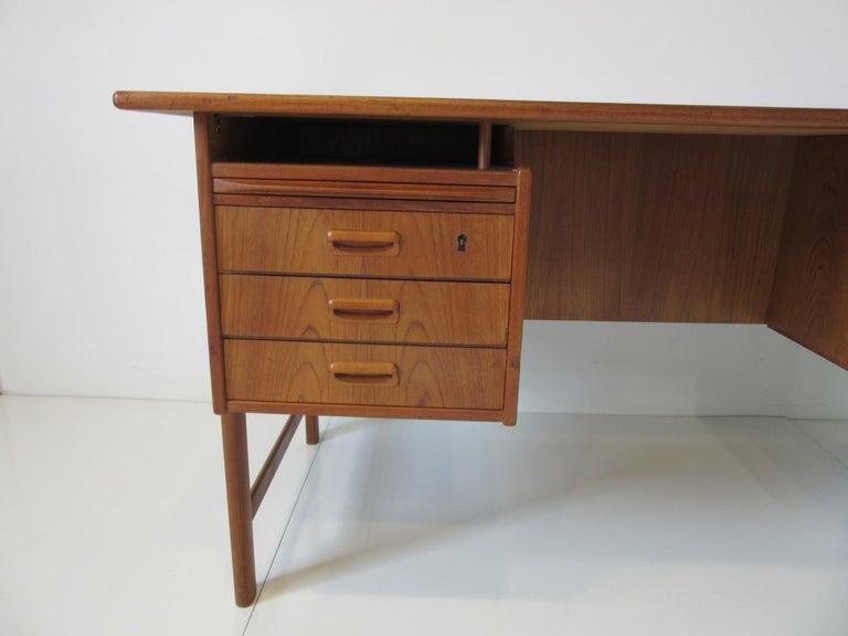 Adam Style Danish Teak Desk with Bookcase in the Style of Vodder & Kai Kristiansen For Sale