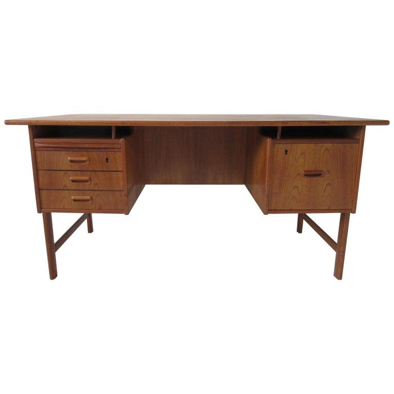 Danish Teak Desk with Bookcase in the Style of Vodder & Kai Kristiansen For Sale