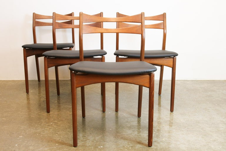 Danish Teak Dining Chairs 1960s Set of 4 For Sale 4