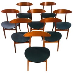 Danish Teak Dining Chairs Model 402 by Vilhelm Wohlert for Soborg, Set of 8