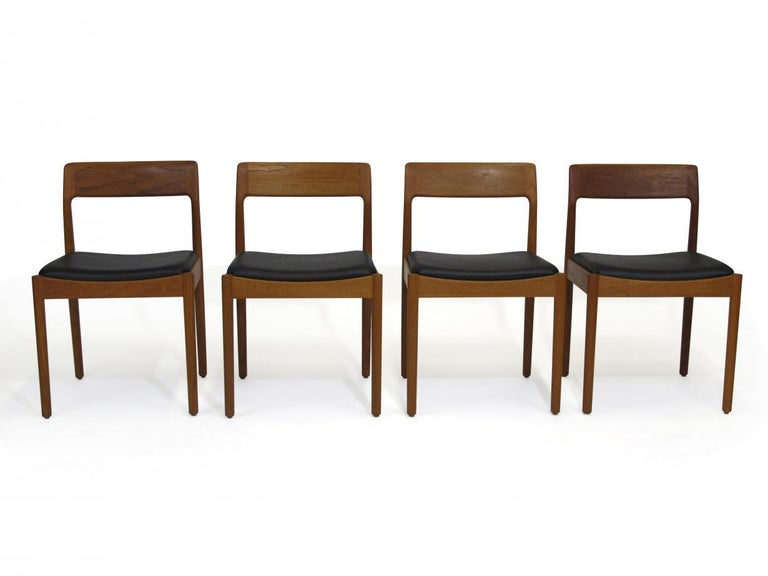 Danish Teak Dining Chairs, Set of 4 For Sale 4