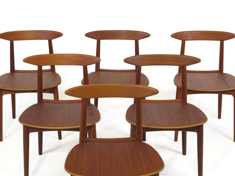 Danish Teak Dining Chairs with Wooden Seats For Sale 5