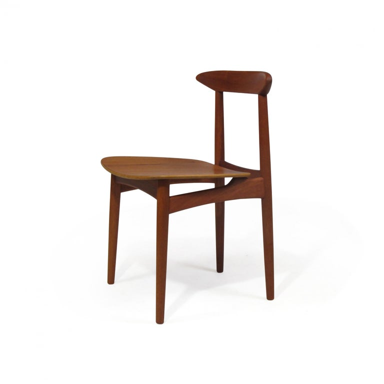 Danish Teak Dining Chairs with Wooden Seats In Excellent Condition For Sale In Berkeley, CA