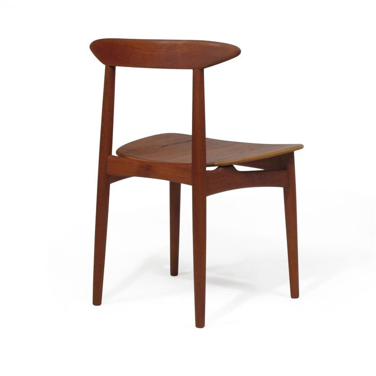 Danish Teak Dining Chairs with Wooden Seats For Sale 2