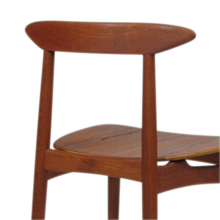 Danish Teak Dining Chairs with Wooden Seats For Sale 3