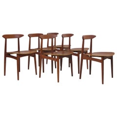 Danish Teak Dining Chairs with Wooden Seats