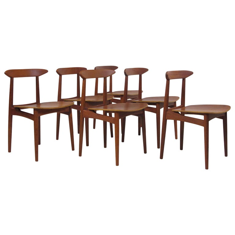 Danish Teak Dining Chairs with Wooden Seats For Sale