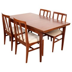 Danish Teak Dining Table and Chairs Mid-Century Modern 4 Chairs