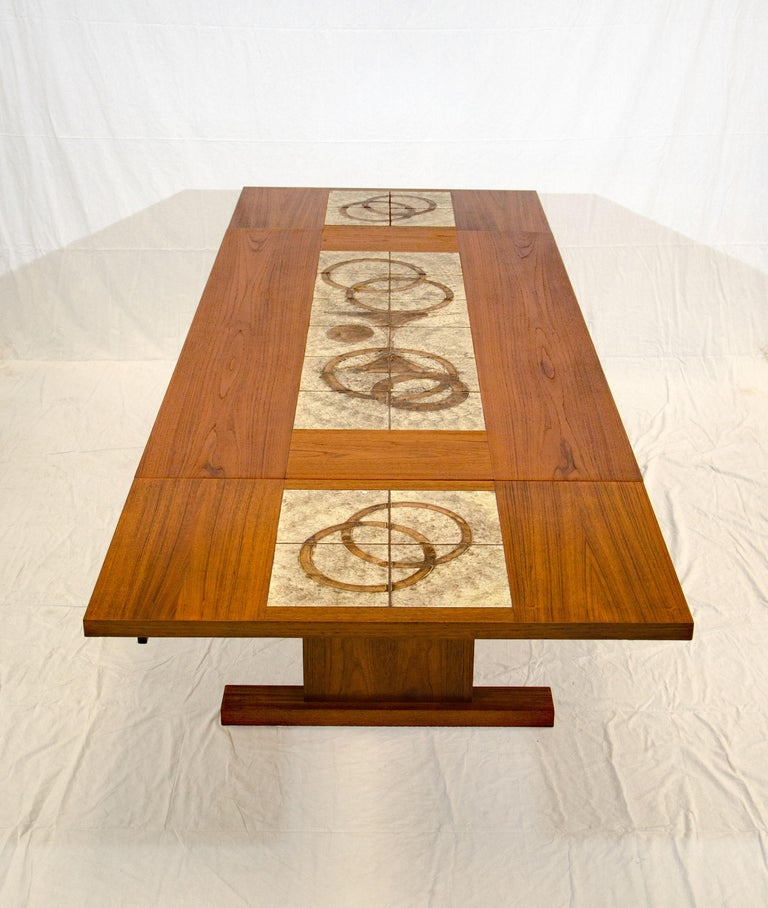 Danish Teak Dining Table With Tile Inserts And Two