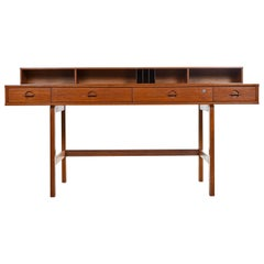 Danish Teak Flip-Top Partners Desk with Bookcase Cabinets by Peter Lovig