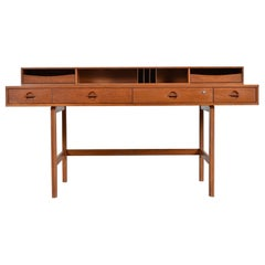 Danish Teak Flip-Top Partners Desk with Bookcase Cabinets by Peter Lovig Nielsen