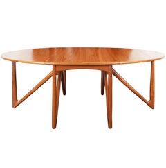 "Danish Teak ""Gateleg"" Drop Leaf Dining Table by Kurt Østervig"