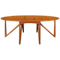 "Danish Teak ""Gateleg"" Drop Leaf Dining Table by Niels Kofoed"