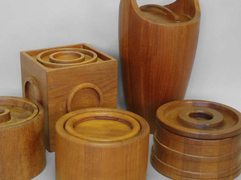 Mid-Century Modern Danish Teak Ice Bucket Collection by Jens Quistgaard JHQ Individually Priced For Sale
