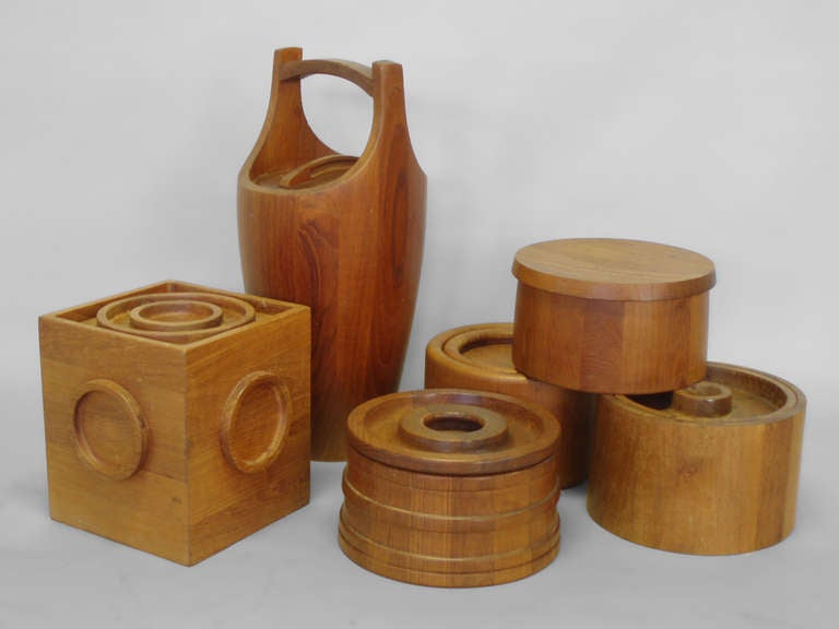 Oiled Danish Teak Ice Bucket Collection by Jens Quistgaard JHQ Individually Priced For Sale