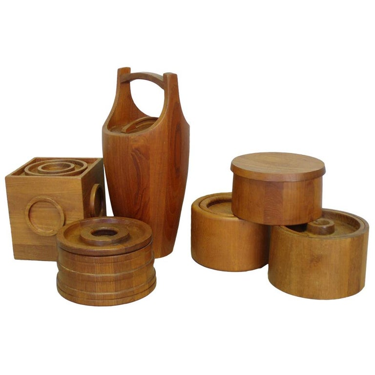 Danish Teak Ice Bucket Collection by Jens Quistgaard JHQ Individually Priced For Sale