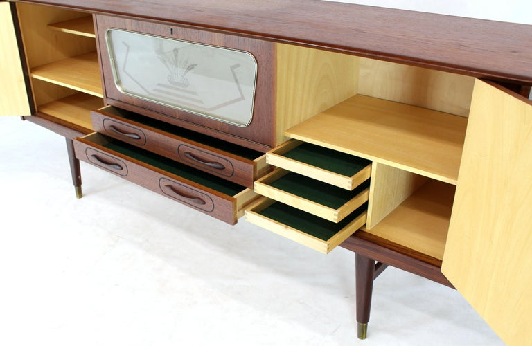 Mid-Century Modern Danish Teak Long Sideboard Credenza with Art Deco Style Etched Glass Insert For Sale