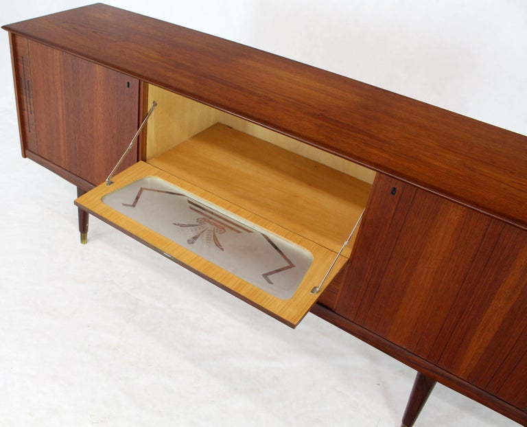Lacquered Danish Teak Long Sideboard Credenza with Art Deco Style Etched Glass Insert For Sale