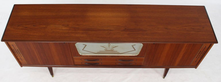 20th Century Danish Teak Long Sideboard Credenza with Art Deco Style Etched Glass Insert For Sale