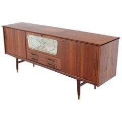 Danish Teak Long Sideboard Credenza with Art Deco Style Etched Glass Insert