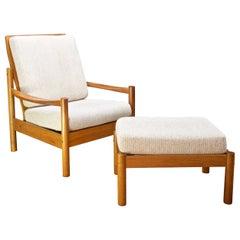 Danish Teak Lounge Chair and Ottoman Cabin Mid-Century Modern Rustic Ski Chalet