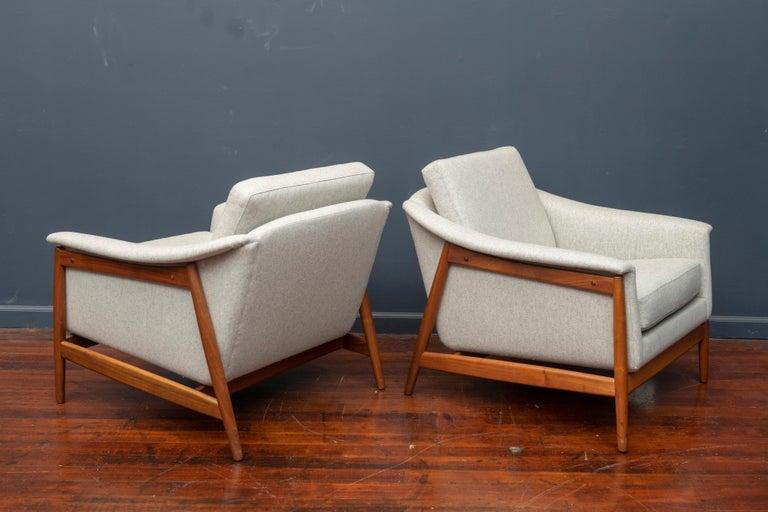 Walnut Danish Teak Lounge Chairs by Folks Ohlsson For Sale