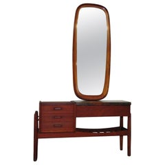 Danish Teak Marble Top Vanity with Mirror