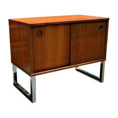 Danish Teak MCM Micro Credenza Sideboard Record Cabinet, 1970s