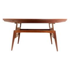 Danish Teak Metamorphic Dining Coffee Table Midcentury, 1960s